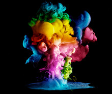 Acrylic Colors And Ink In Water. Paint On A Black Background, The Best Photo
