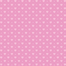 Vector Seamless Pattern With Hearts And Dots, Romantic Wallpaper, Background For Mother's Day Or Valentine's Day, 8th March