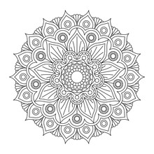 Coloring Book With Mandala Pattern. Black And White Vector Illustration.