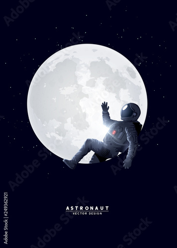 Slika na platnu A spaceman astronaut relaxing on the moon. Vector illustration.