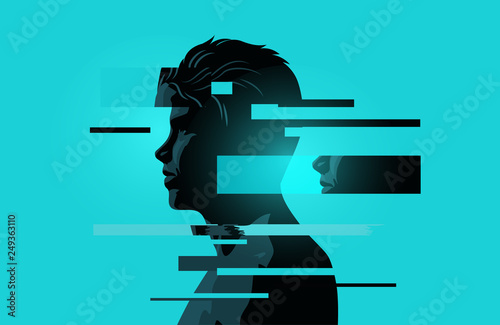 Obraz Image Of a Man With Glitch Fragments. Mental health issues. Anxiety, mindfulness and awareness concept. Vector illustration. - fototapety do salonu