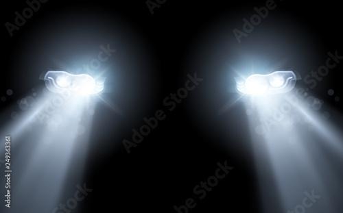 Obraz Modern Car Bright Headlights Background - fototapety do salonu