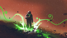 Spaceman Looking At Mysterious Plants With Green Light, Digital Art Style, Illustration Painting