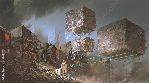 man in biohazard suits collecting garbages with high technology device in fillland slum, digital art style, illustration painting