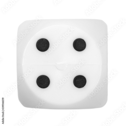 фотография  gambling dice four, macro isolated on white background, top view and clipping pa