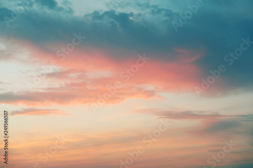 View of beautiful sunset sky with clouds
