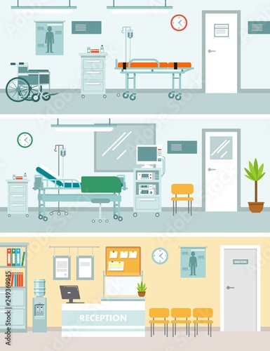 Set of medicine concepts with empty hospital rooms in flat