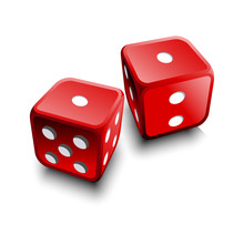 Two Realistic 3D Dice On White Background Vector Illustration