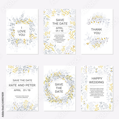 Leinwand Poster Romantic tender floral design for wedding invitation