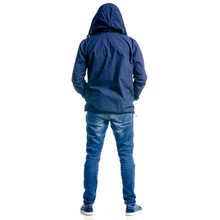 A Man In Jeans And Jacket Hood Standing Looking On White Background Isolation, Back View