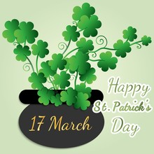 Happy Saint Patrick's Day, Great Design For Any Purposes. Decoration Element. Invitation Background. Vector Banner. Clover Bouquet, Black Vase With Shamrock, And Congratulations On St. Patrick's Day