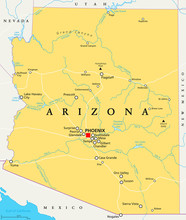 Arizona Political Map With Capital Phoenix, Important Cities, Rivers, Lakes. State In Southwestern Region Of United States, Part Of Western And Mountain States. English Labeling. Illustration. Vector.