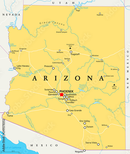 Arizona political map with capital Phoenix, important cities ...