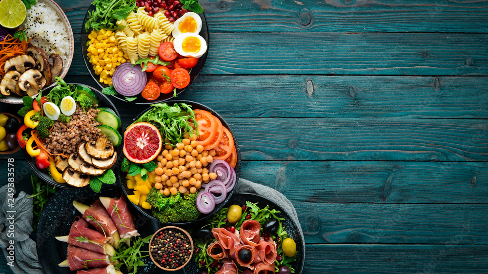 Fototapety, obrazy: Assortment of healthy food dishes. Top view. Free space for your text.