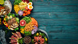 Leinwanddruck Bild - Assortment of healthy food dishes. Top view. Free space for your text.