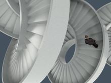Man Walking The Endless Spiral Staircase
