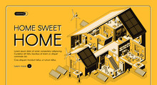 Energy Self-sufficient House Isometric Vector Web Banner, Landing Page. Cottage Rooms Cross Section Interiors Or Plan, Electricity Alternative Technologies, Renewable Energy Solutions Illustration