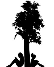 Girls Reading Book Under Tree, Silhouette Vector
