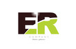 letter er e r alphabet combination in green and brown color for logo icon design
