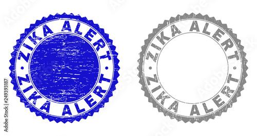 Valokuva  Grunge ZIKA ALERT stamp seals isolated on a white background