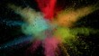 Super slowmotion shot of color powder explosion isolated on black background. Shot with high speed cinema camera at 1000fps