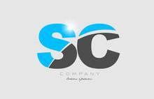 Combination Letter Sc S C In Grey Blue Color Alphabet For Logo Icon Design