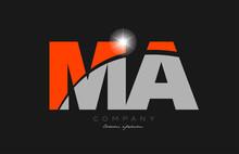 Combination Letter Ma M A In Grey Orange Color Alphabet For Logo Icon Design