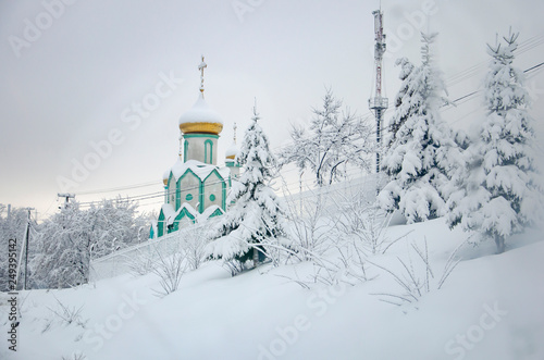 Obraz Frosted snowy spruce tree and a church with golden dome in Carpathians mountains, Ukraine - fototapety do salonu