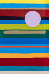Panel Szklany Abstrakcja A modernist painting, built from stripes of color.