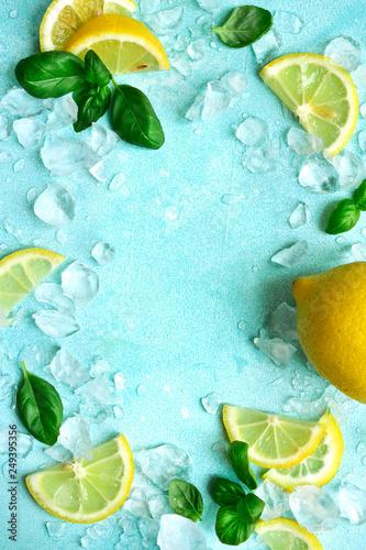 Valokuva  Ingredients for making homemade summer lemonade or cocktail