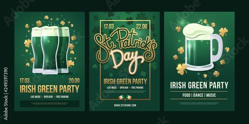 Obraz na płótnie Set of festive posters with symbols of  Irish holiday on a green background