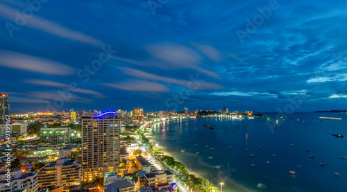 Fototapety, obrazy: Pattaya City and Sea with suset, Thailand. Pattaya city skyline and pier at suset in Pattaya Chonburi Thailand