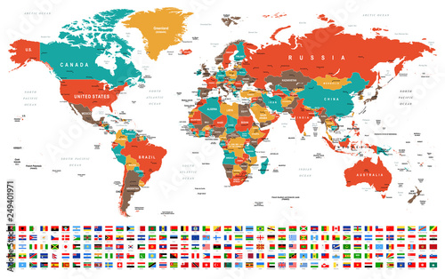 World Map and Flags - borders, countries and cities -illustration ...