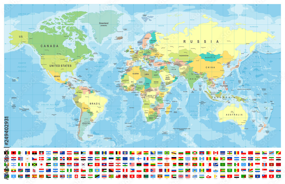 Window stickers World Map and Flags - borders, countries and ...