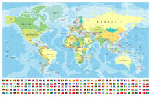World Map And Flags - Borders,...