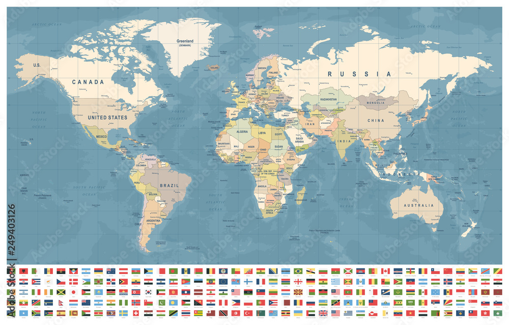 Fototapety, obrazy: World Map and Flags - borders, countries and cities - vintage illustration