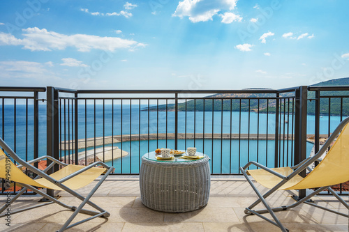 Fotografie, Obraz  Spacious terrace in the villa with sea view