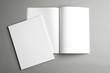 canvas print picture Open and closed blank brochures on grey background, top view. Mock up for design