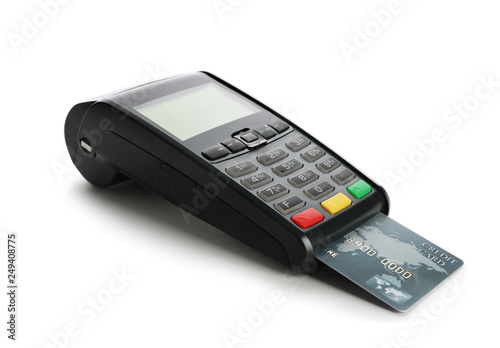 Photographie Modern payment terminal with credit card on white background