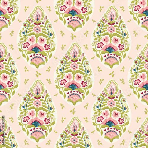 Fotografie, Obraz Hand drawn arabesque floral paisley damask illustration