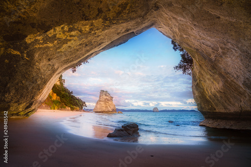 view from the cave at cathedral cove,coromandel,new zealand 9
