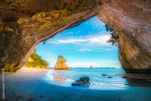 Poster Natuur view from the cave at cathedral cove,coromandel,new zealand 39