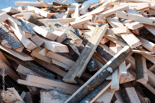 Aluminium Prints Firewood texture Wood waste. Wreck boards. Waste from the boards. Firewood.
