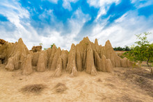 "Landscape Of Soil Textures Eroded Sandstone Pillars, Columns And Cliffs, ""Sao Din Na Noi"" At Sri Nan National Park In Nan Province, Thailand"