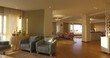 Panning shot of apartment interior natural light coming through windows 2