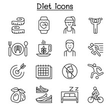 Losing Weight, Diet, Exercise Icon Set In Thin Line Style