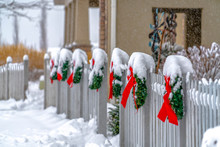 White Picket Fence With Wreath...