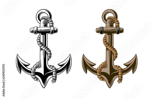 Fotografía Hand drawn anchor with rope Isolated on white background