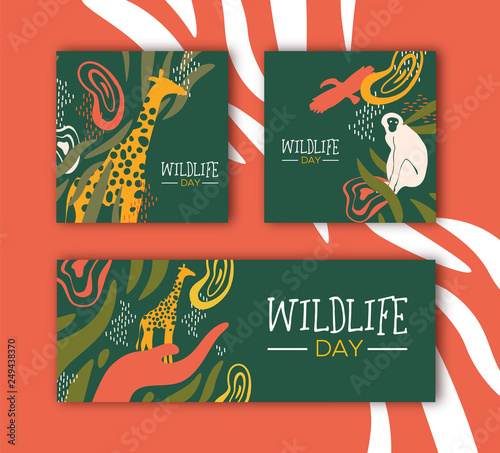 Wildlife Day safari concepts set with wild animals Wall mural