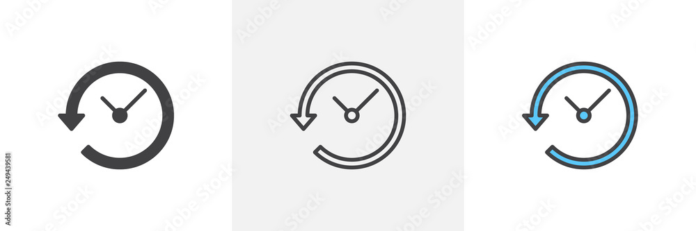 Fototapeta Time back icon. Line, glyph and filled outline colorful version, Clock with arrow around outline and filled vector sign. Symbol, logo illustration. Different style icons set. Pixel perfect vector